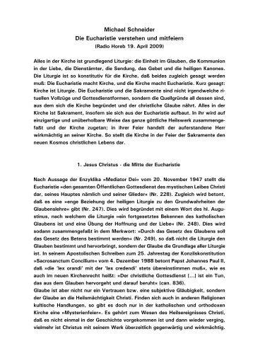 Michael Schneider Die Eucharistie verstehen und mitfeiern - Kath.de