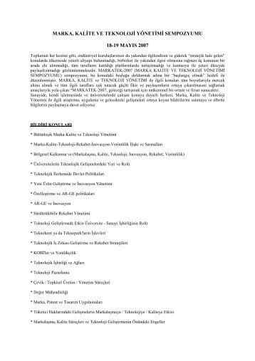 Marka, Kalite ve Teknoloji Yönetimi Sempozyumu - REF