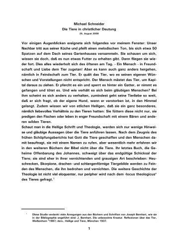 1 Michael Schneider Die Tiere in christlicher Deutung Vor ... - Kath.de