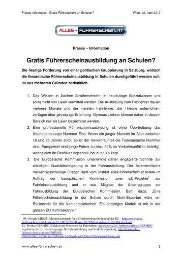 PRESSE-INFO Gratis Fuehrerschein - auf alles-führerschein.at