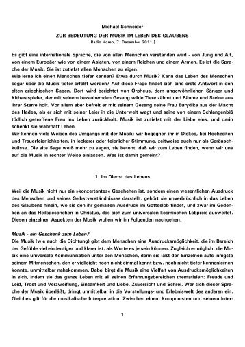 1 Michael Schneider ZUR BEDEUTUNG DER MUSIK IM ... - Kath.de