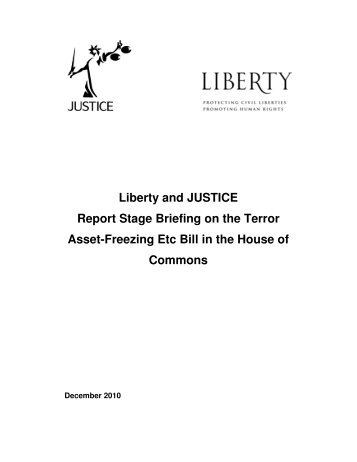 Joint Liberty-JUSTICE Terrorist Asset Freezing etc Bill Briefing ...