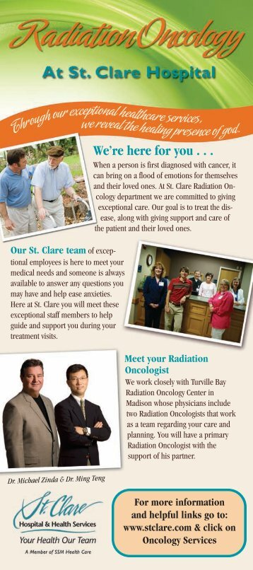 View/Print the Radiation Oncology brochure - St. Clare Hospital