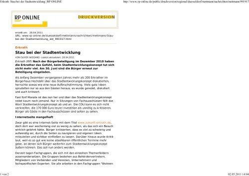 Artikel RP-Online vom 28.04.2012 - Zukunft Erkrath