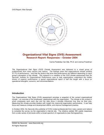 Organizational Vital Signs (OVS) Assessment - Six Seconds
