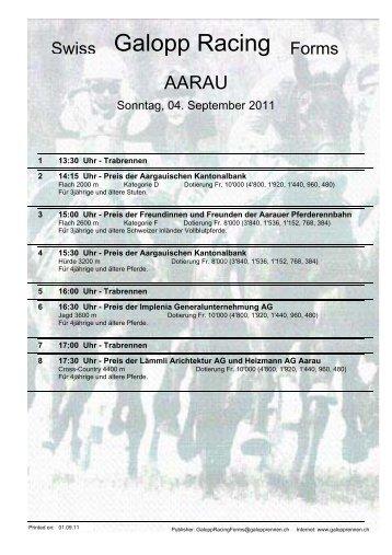 4. September 2011 AARAU Rennen 2 - Galopp Racing Forms