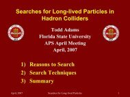Searches for Long-lived Particles in Hadron Colliders - FSU High ...