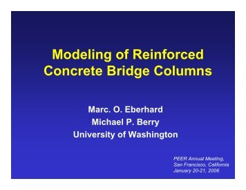 Modeling of Reinforced Concrete Bridge Columns - PEER