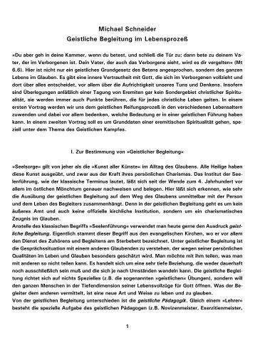Michael Schneider Geistliche Begleitung im Lebensprozeß - Kath.de