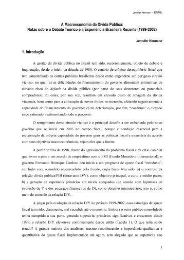 A Macroeconomia da Dívida Pública - Instituto de Economia da UFRJ