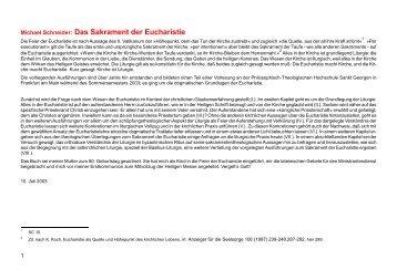 Michael Schneider: Das Sakrament der Eucharistie - Kath.de