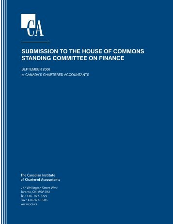 submission to the house of commons standing committee on finance