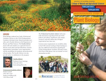 Plant Biology Brochure - CNAS Undergraduate Academic Advising ...