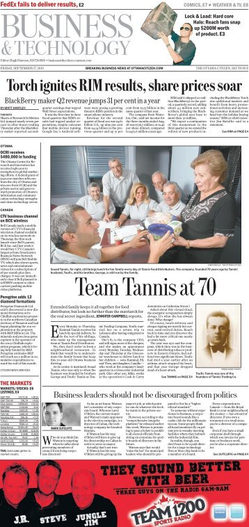 Ottawa Citizen September 2010 - Tannis Food Distributors
