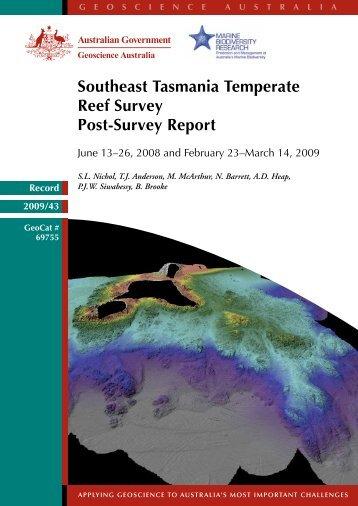 Southeast Tasmania temperate reef survey - Geoscience Australia