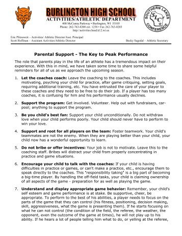 Parental Support - The Key to Peak Performance