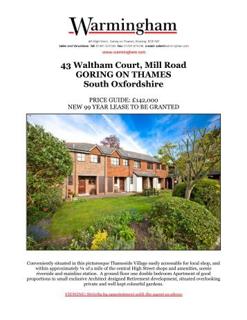 43 Waltham Court, Mill Road GORING ON THAMES ... - Warmingham