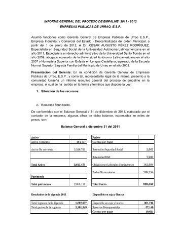 INFORME GENERAL DEL PROCESO DE EMPALME 2011 ... - Urrao