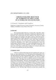 chromatographic behavior of antibiotics on thin layers of