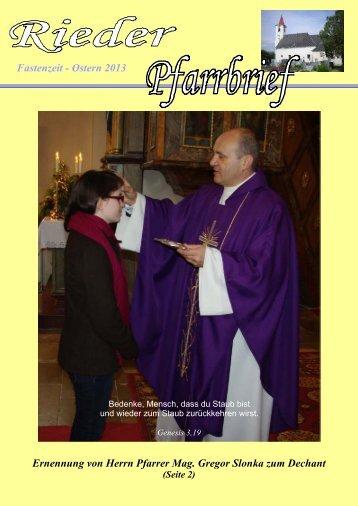 Fastenzeit - Ostern 2013 Ernennung von Herrn Pfarrer Mag. Gregor ...
