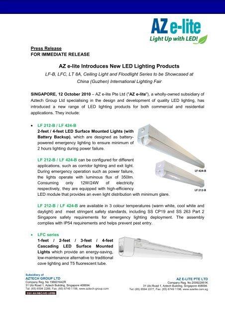 Az E Lite Introduces New Led Lighting Products Aztech