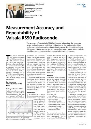 Measurement Accuracy and Repeatability of Vaisala RS90 ...