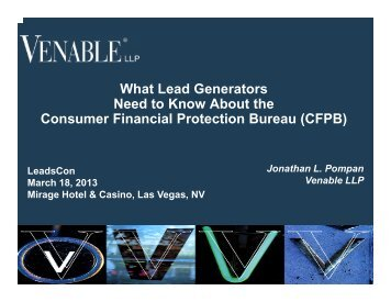 What Lead Generators Need to Know About the ... - Venable LLP