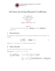 On Sums Involving Binomial Coefficients