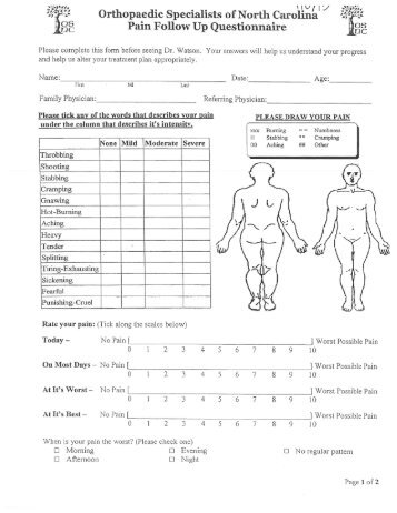 Patient History Follow Up Form (Dr. Watson) - Orthopaedic ...