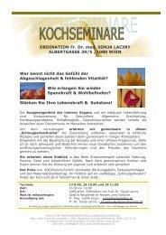 Schnupperkochen-Reihe Herbst-Winter 2009 - Dr. med. Sonja Laciny