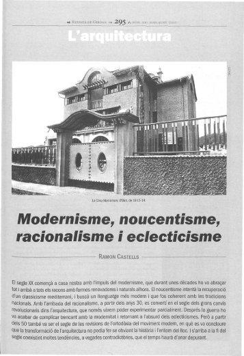 Modetnisme, noucentisme^ racionalisme i eclecticisme - Raco