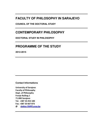 FACULTY OF PHILOSOPHY IN SARAJEVO CONTEMPORARY ...