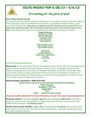 CELTIC WEEKLY FOR 4/28/13 — 5/4/13 - Trinity Catholic High School