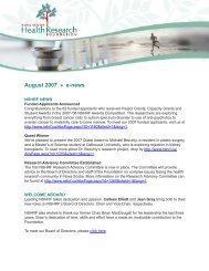August 2007 » e-news - Nova Scotia Health Research Foundation