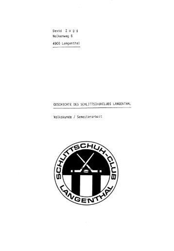 Geschichte - SC Langenthal Nachwuchs