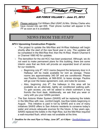 NEWS FROM THE STAFF - Air Force Village