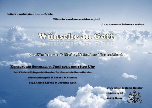 Konzert am Sonntag, 9. Juni 2013 um 16.00 Uhr - Don Bosco Mission