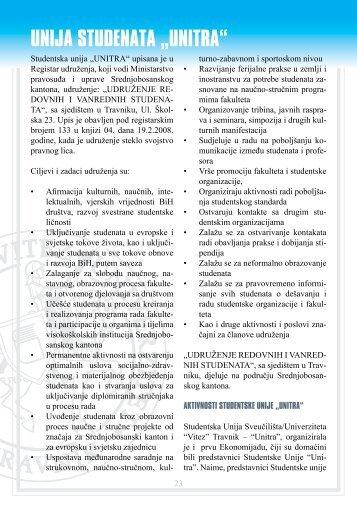 "vodič za upis studenata na prvi ciklus studija - ""VITEZ"" Travnik"
