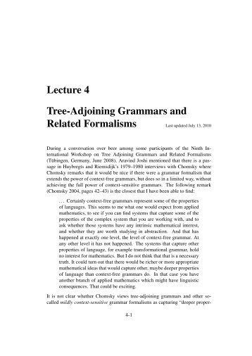 Lecture 4 Tree-Adjoining Grammars and Related Formalisms