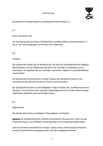 Satzung - Gesellschaft für Christlich-Jüdische Zusammenarbeit ...