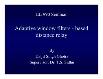 Adaptive window filters - based distance relay