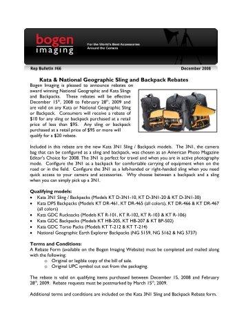 Kata & National Geographic Sling and Backpack Rebates