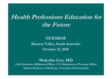 Health Professions Education for the Future - Global Community ...