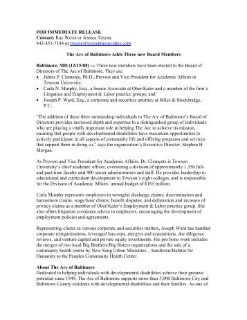 FOR IMMEDIATE RELEASE Contact: Ray Weiss ... - The Arc Baltimore