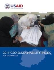 The 2011 CSO Sustainability Index for Afghanistan - usaid