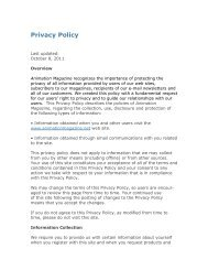 Privacy Policy - Animation Magazine