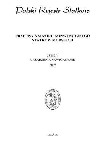 Część V - Urządzenia nawigacyjne - 2009 - PRS