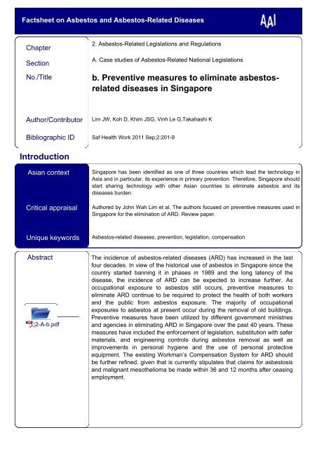Preventive measures to eliminate asbestos-related diseases