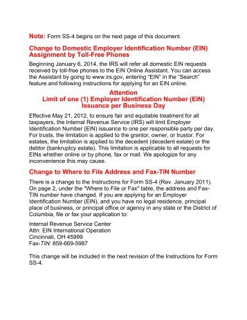 IRS SS-4 form, Application for Employer Identification Number - APWU