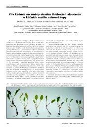 Vliv kadmia na změny obsahu thiolových sloučenin u klíčních rostlin ...